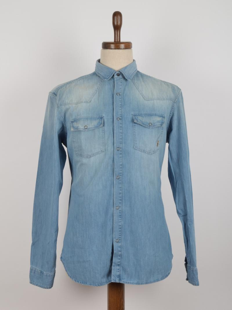 PIERRE BALMAIN STRETCH COTTON DENIM WESTERN SHIRT
