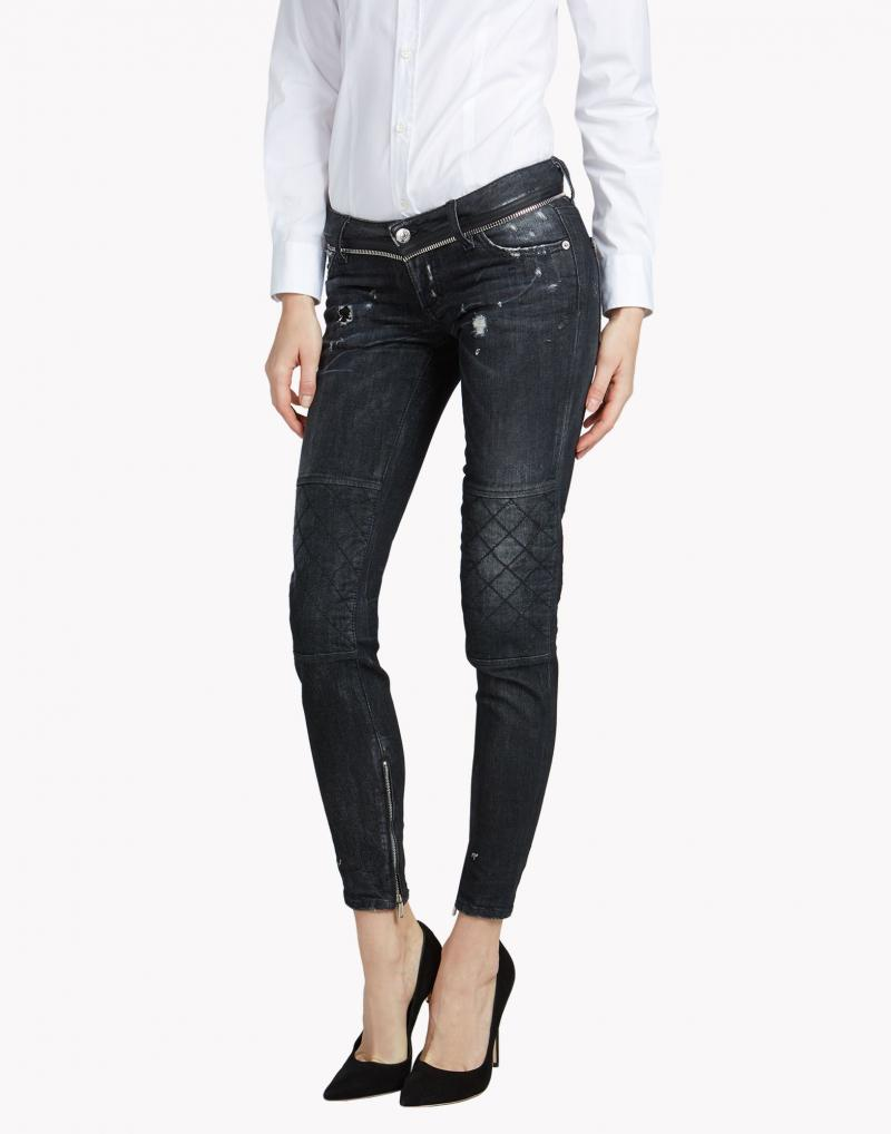 DSQUARED2 JEANS Skinny quilted washed cotton denim