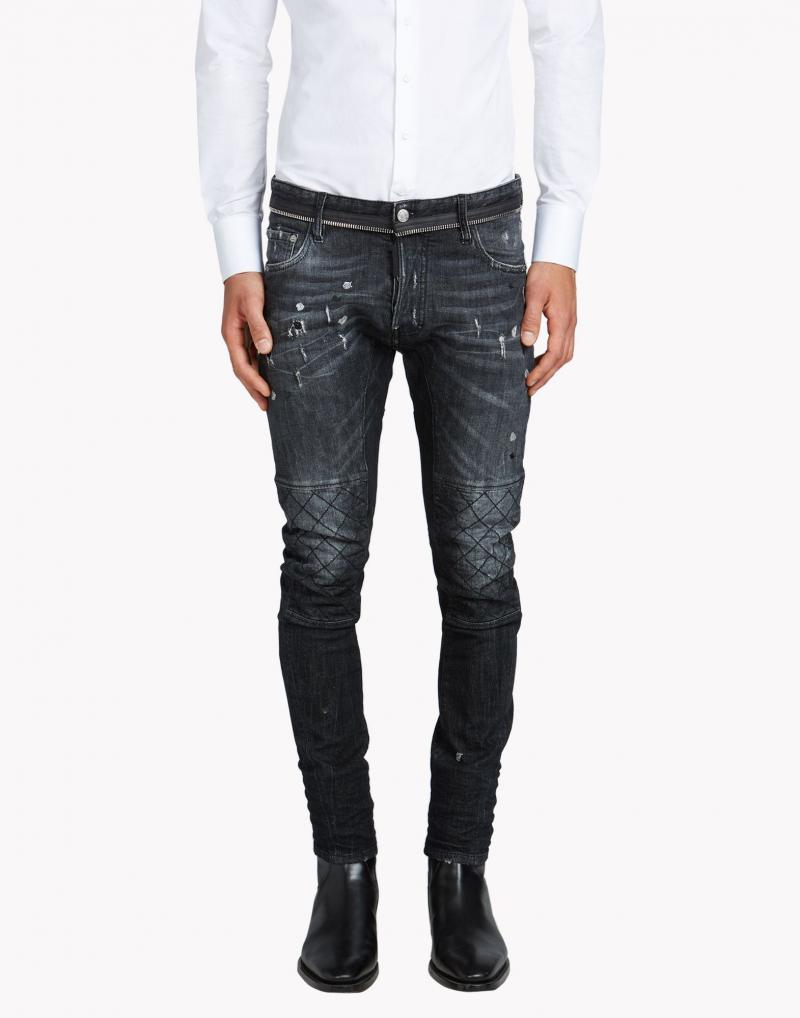 DSQUARED2 17CM TIDY BIKER ZIP STRECH DENIM JEANS