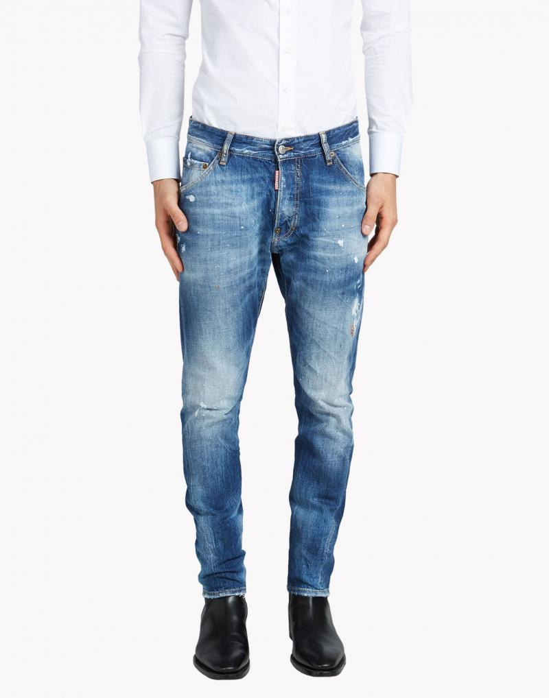 DSQUARED2 JEANS 17.5CM KENNY TWIST MARKS DENIM JEAN