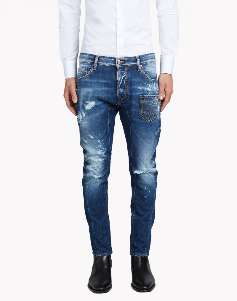 DSQUARED2  17CM TIDY BIKER BLEACH DENIM JEANS