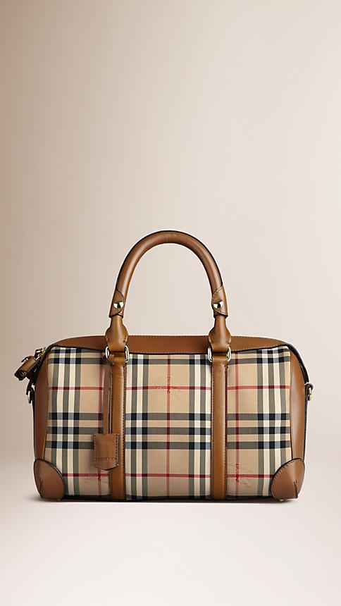 BURBERRY Medium Alchester Horseferry Check Leather Bowling Bag