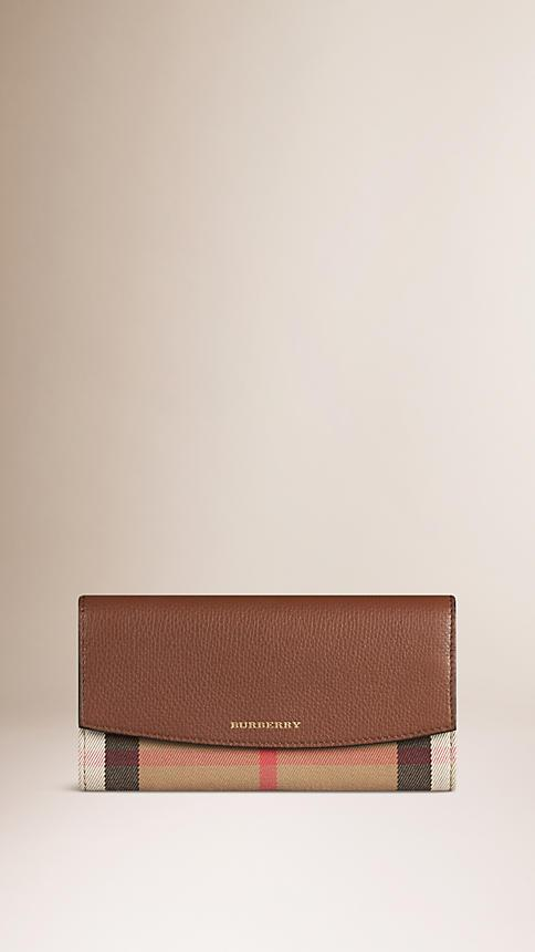 SPRING-SUMMER 2018 BURBERRY House Check and Leather Continental Wallet