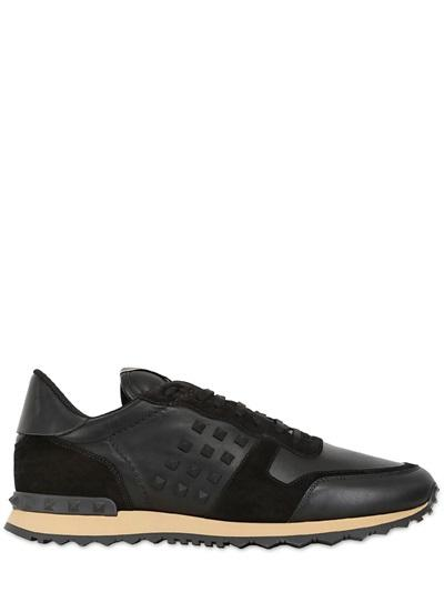 VALENTINO ROCKSTUD LEATHER & SUEDE SNEAKERS