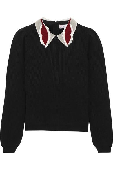 RED VALENTINO Appliquéd wool sweater