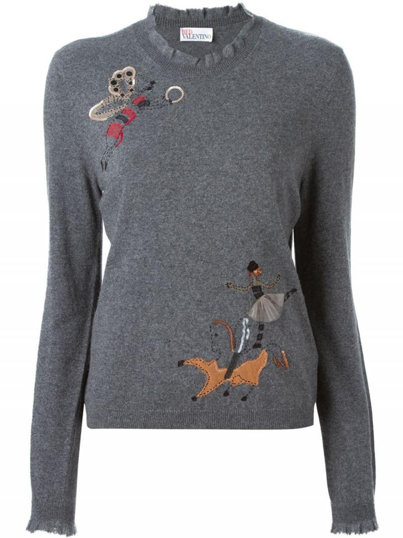 RED VALENTINO embroidered detail sweater