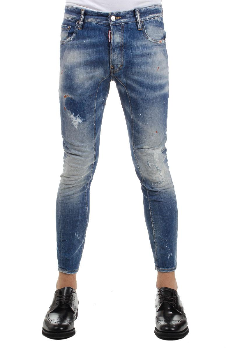 DSQUARED2 16 cm Tidy Biker Stretch Destroyed Denim Jeans