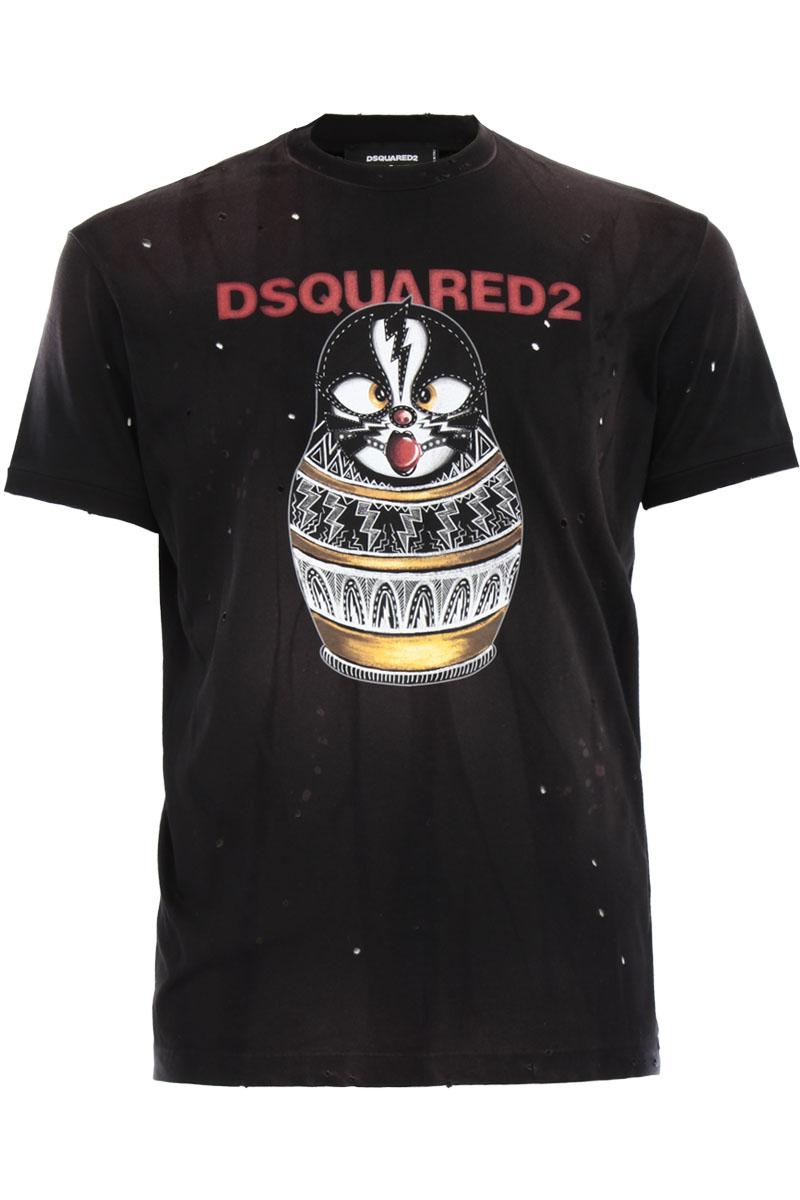 DSQUARED2  T-SHIRT Matrioska print t-shirt in distressed effect