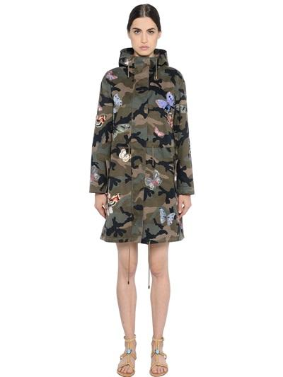 VALENTINO BUTTERFLY PATCHES CAMOUFLAGE COTTON COAT