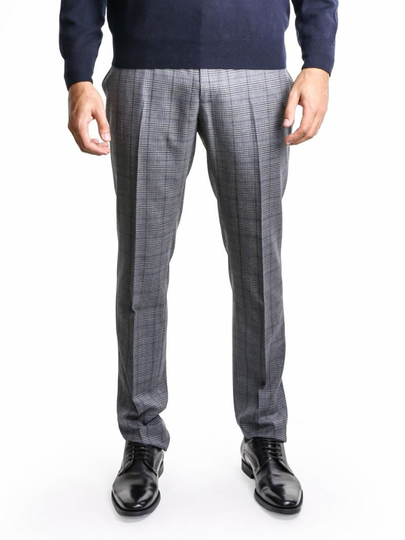 Lanvin grey micro-checked trousers