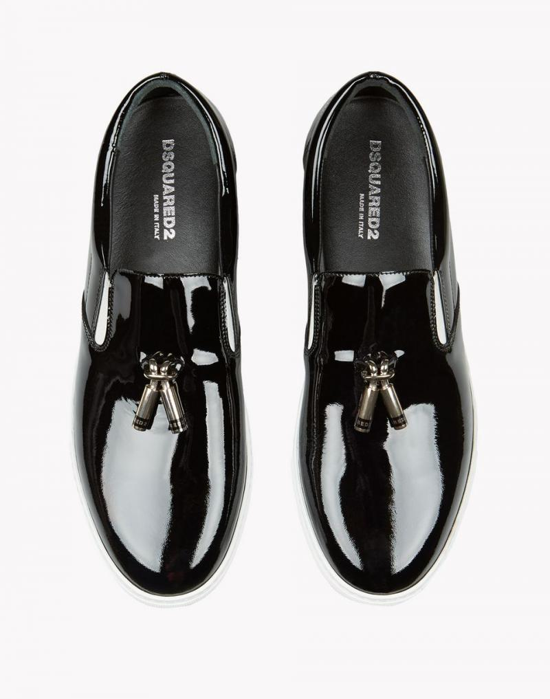 DSQUARED2 SHOES Black Patent Leather Slip on