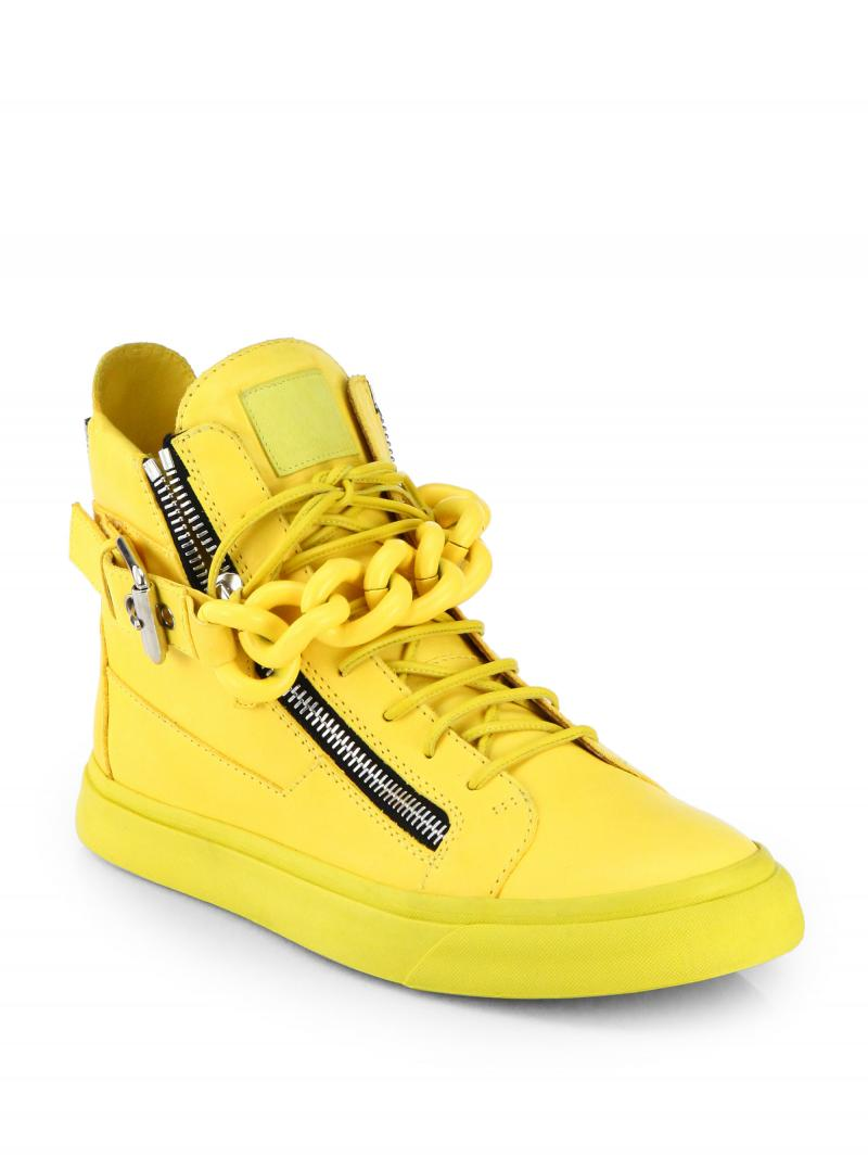 GIUSEPPE ZANOTTI DESIGN  CHAIN BANGLE LEATHER HIGH TOP SNEAKERS