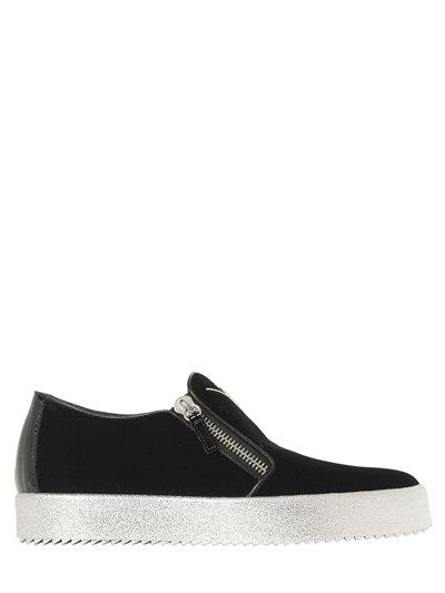 GIUSEPPE ZANOTTI DESIGN  ZIP-UP VELVET SLIP-ON SNEAKERS