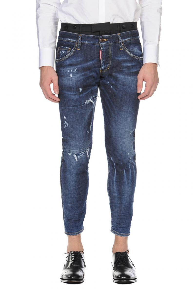 DSQUARED2 JEANS   uniform mixed jeans con banda smoking e dettaglio tuxedo in vita