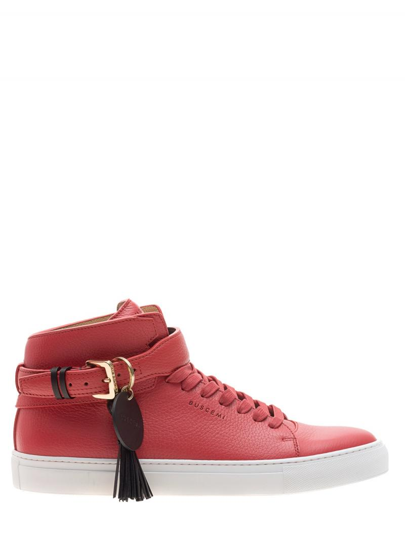 BUSCEMI 100MM Belt Red High-top leather sneakers