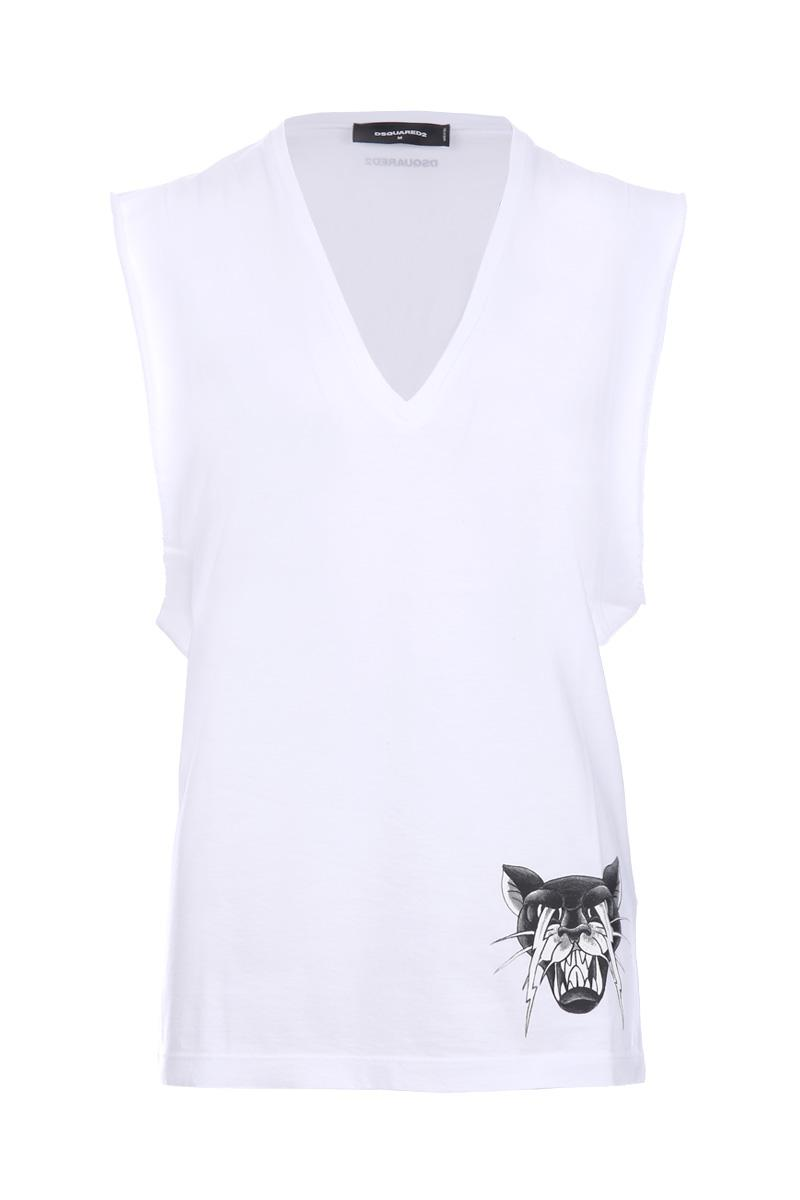 DSQUARED2 panther print sleeveless t-shirt