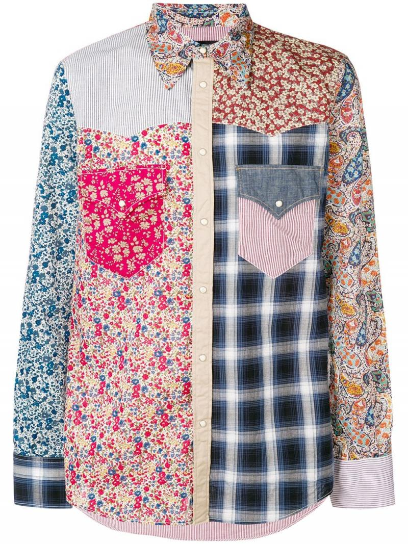 DSQUARED2 patchwork button shirt