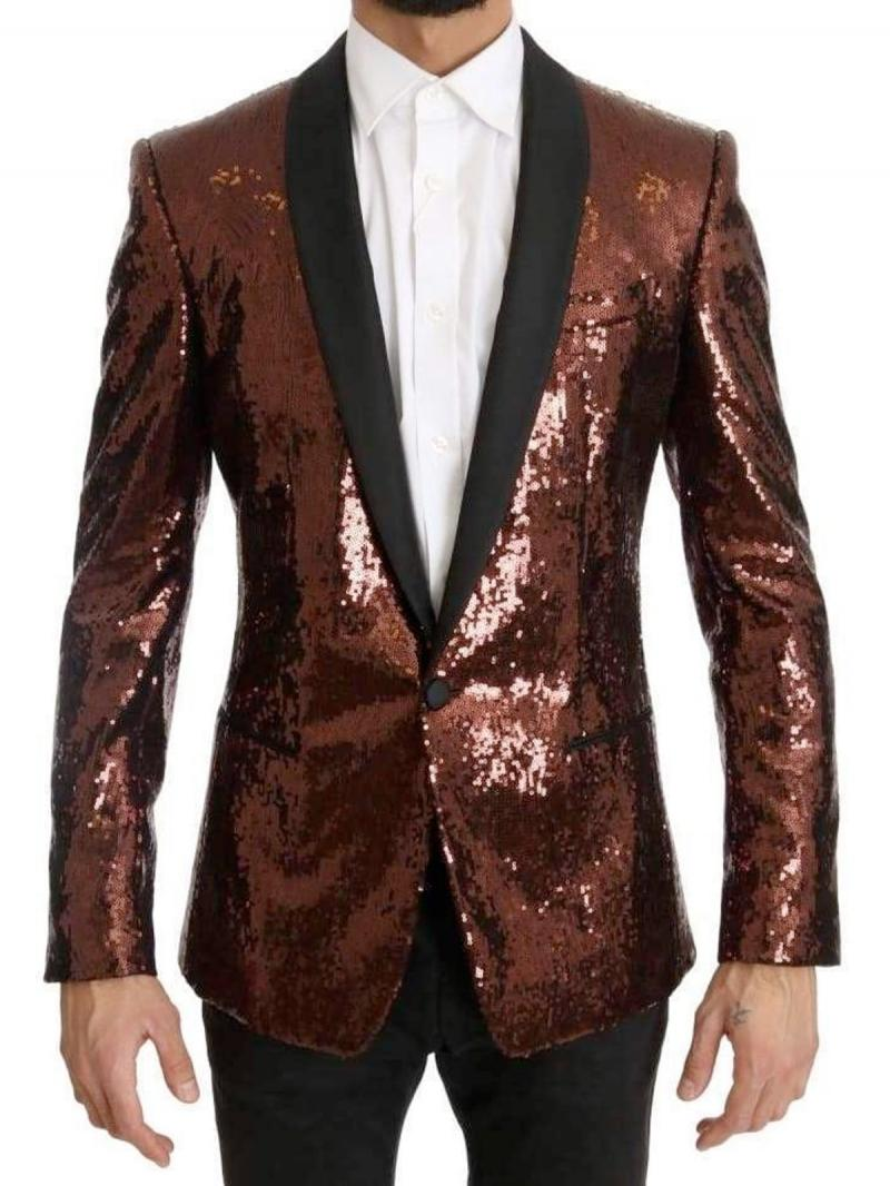 DOLCE&GABBANA Bronze Sequined Slim MARTINI Blazer