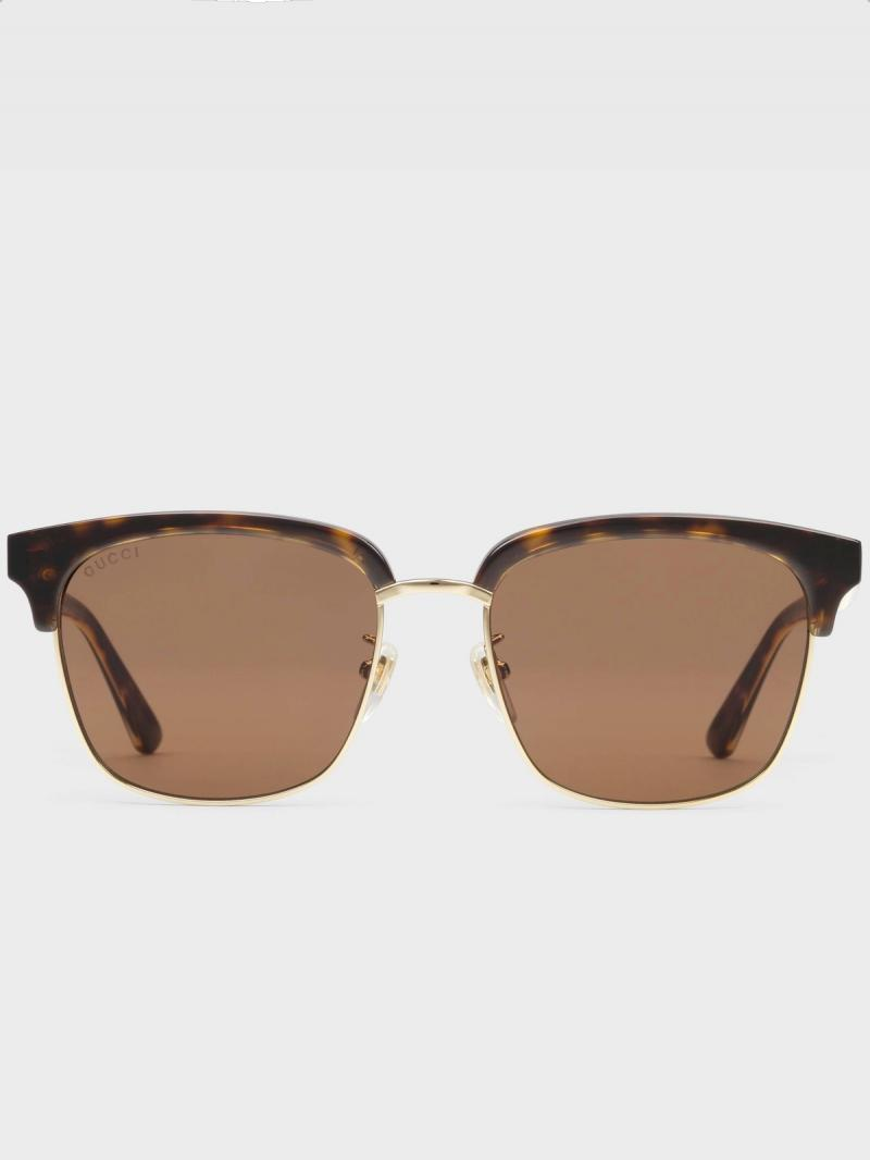 GUCCI Havana Rectangular-frame metal sunglasses