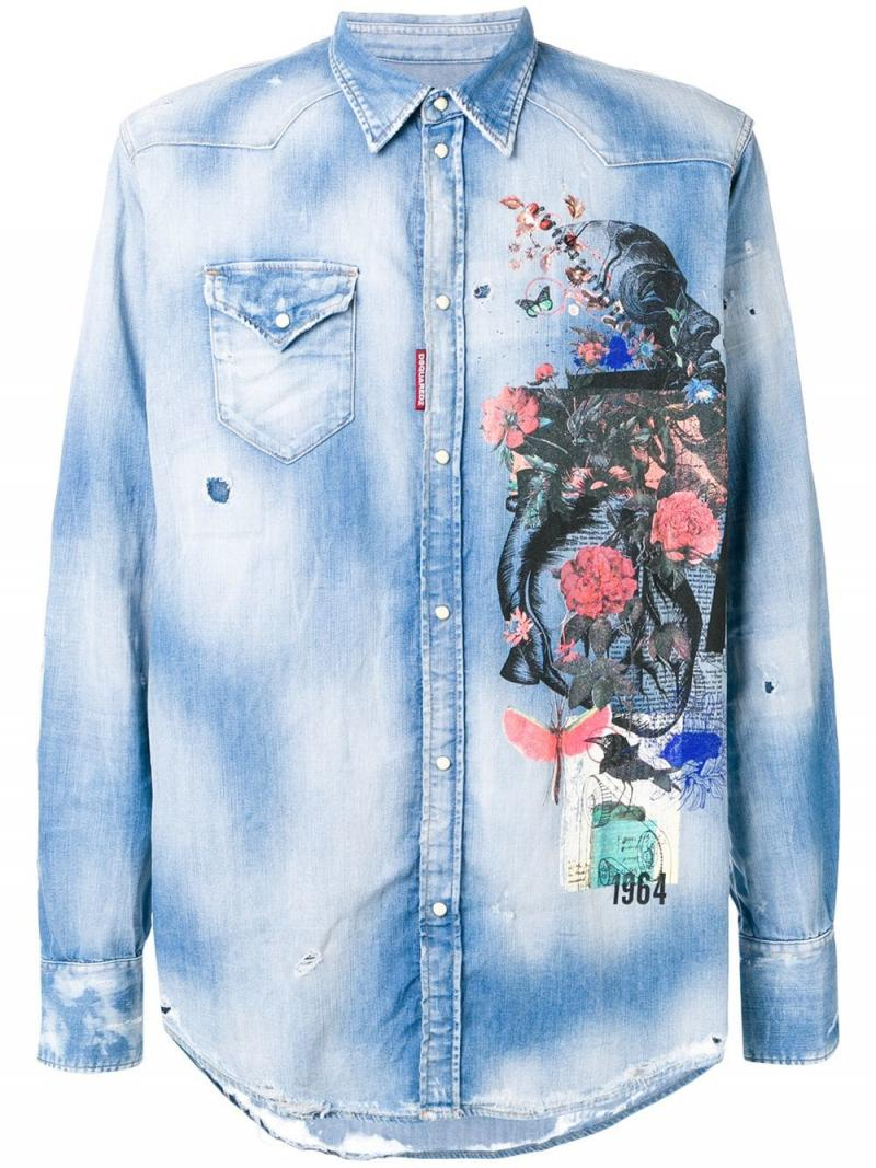 DSQUARED2 printed denim shirt