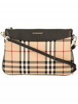 BURBERRY Horseferry Check and Leather Clutch Bag