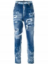 DSQUARED2 HIGH WAIST GLAM HEAD JEAN distressed jeans